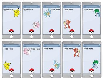 Pokemon Go Inspired Smart Phone Task Card Templates