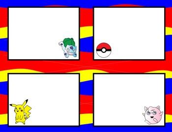 Pokemon Inspired Task Card Template