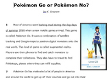 Pokemon Go or Pokemon No?: Expository Nonfiction STAAR Practice Passage