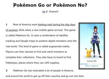 Pokemon Go or Pokemon No?: Expository Nonfiction STAAR Practice Passage