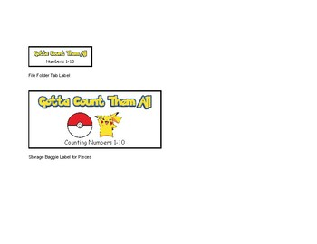 Pokemon Gotta Count Them All File Folder Activity Counting Numbers 1-10