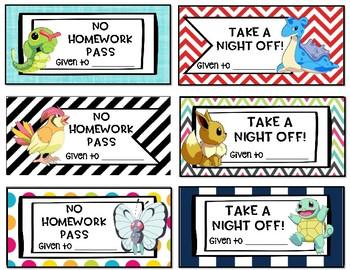 Pokemon Homework Passes