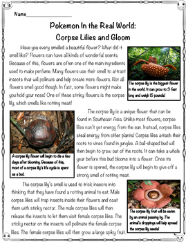 Pokémon Close Read and Worksheets/Activities: Corpse Lilies and Gloom