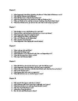 Pokemon: Journey to the Orange Islands Comprehension Questions and Answers