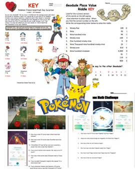 Pokemon Math:  First Week of School Review