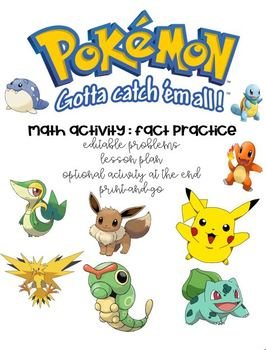 Pokemon Math Fact Game- Editable