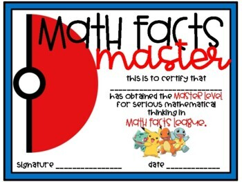 Pokemon Math Facts Multiplication and Division Incentive Timed Test