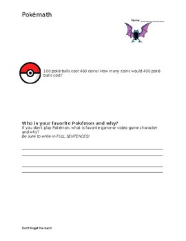 Pokemon Math Problem Solving