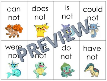 Pokemon Memory Contractions with not