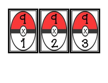 Pokemon Multiplication Flash Cards