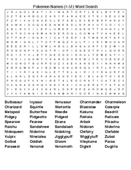 image relating to Pokemon Word Search Printable known as Pokemon Names (1-151)Term Queries and Crosswords.