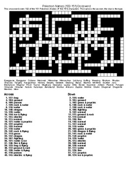Pokemon Names (1-151)Word Searches and Crosswords.