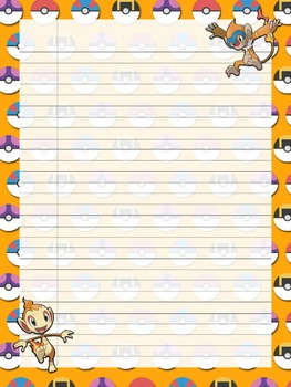 Pokemon Notebook Copywork Pages Classic Notebook Paper Lined