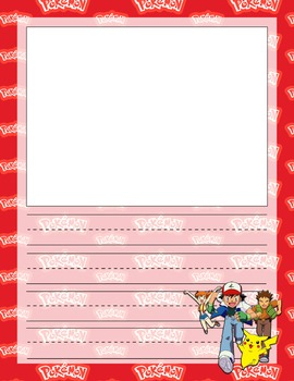 Pokemon Notebook Copywork Pages Primary Lined With Illustration Box