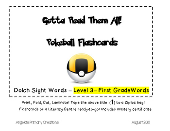 Pokemon Pokeballs- Dolch Words Flashcards- FIRST GRADE List