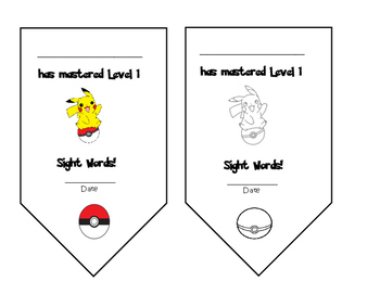 Pokemon Pokeballs- Dolch Words- Flashcards- Pre-Primer List