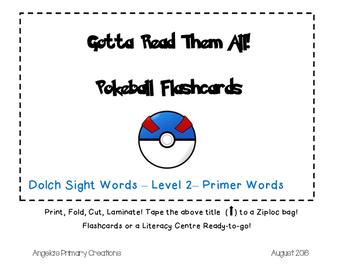 Pokemon Pokeballs- Dolch Words Flashcards- Primer List