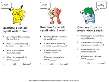 Pokemon Read and Question Bookmark