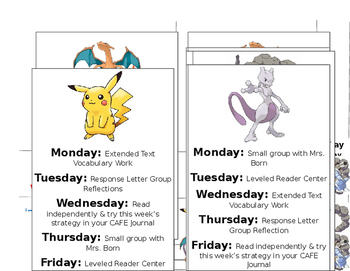 Pokemon Reading Rotations Center Board EDITABLE