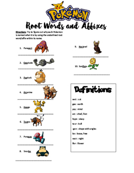 Pokemon Root Words and Affixes