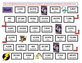 Pokemon Rounding Game Board using Place Value