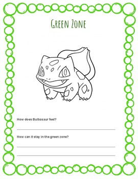 Pokemon Self Regulation Coloring Pages - Zones of Regulation companion