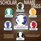Back to School Name Tag Scholar Heads (Editable templates in 3 sizes)