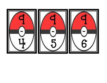 Pokemon Subtraction Flash Cards