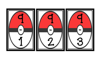 Pokemon Subtraction Flash Cards