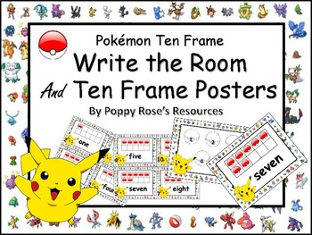 Pokemon Ten Frame Posters and Write the Room Activity