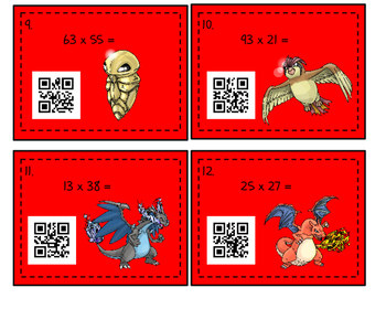 Pokemon Themed 2x2 Digit Multiplication with Box/Area Models/QR Codes