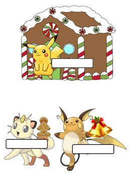 Pokemon Themed Holiday Door Decorations- editable option