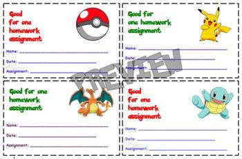 Pokemon Themed Homework Passes