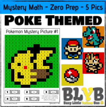 Pokemon Themed Mystery Math Pictures (Number Recognition) NO PREP Printables