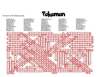 Pokemon Themed Word Search