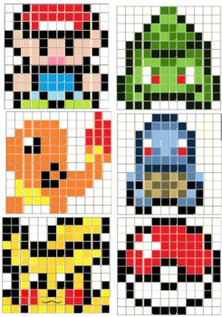 Fact Fluency Pixel Maps: Video game inspired Combined number and multiplication