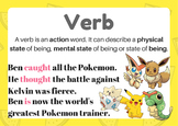 Pokemon verb definition poster