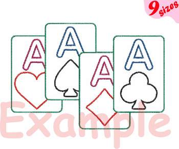 Poker Aces Embroidery Machine digital 4x4 5x7 hoop Stiches casino las vegas 161b