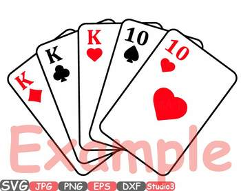 Poker Cards Silhouette SVG Clipart Full House Straight Flush Four of a Kind 742s