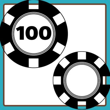 Poker Chip Templates for Number Work and Place Value Black and White Clip Art