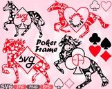 Poker Horse Frame clipart casino games King Queen T Shirt Design Woodland -614s