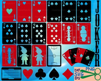 Poker Playing cards clip art casino games Cutting SVG EPS queen math party -34S