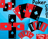 Poker Playing cards clip art casino games Cutting SVG EPS queen math party -54S