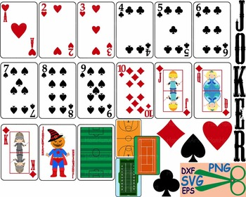 Poker Playing cards clipart casino games Cutting SVG EPS cut monogram boy -32S