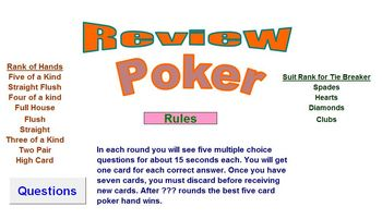 Poker Review Activity - Classroom License  A Pinkley Product