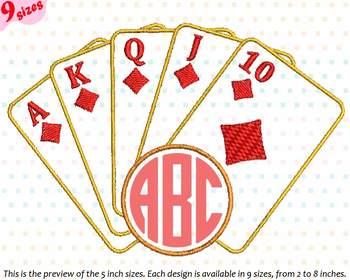 Poker Royal Flush Circle Embroidery Design sign casino las vegas frame 226b