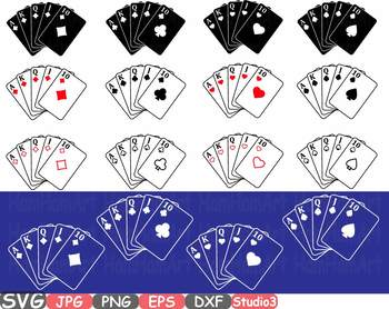 Poker Royal Flush Silhouette clipart Card Suits Playing Games Heart -741s