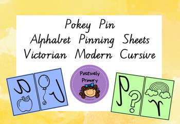 Alphabet Letter/Picture Pinning Sheets Vic Modern Cursive
