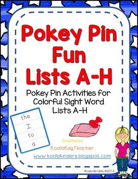 Pokey Pin Fun for Colorful Sight Words Lists A-H