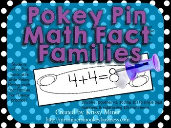 Pokey PinCenters Ready to Go Math Fact Families doubles, +1, +10 &-10